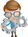 Simple Businessman Vector 3D Cartoon Character AKA Nerdy - Gears
