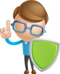 Simple Businessman Vector 3D Cartoon Character AKA Nerdy - Shield