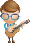 Simple Businessman Vector 3D Cartoon Character AKA Nerdy - Musician