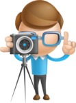 Simple Businessman Vector 3D Cartoon Character AKA Nerdy - Photo