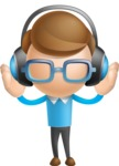 Simple Businessman Vector 3D Cartoon Character AKA Nerdy - Music