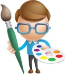 Simple Businessman Vector 3D Cartoon Character AKA Nerdy - Artist
