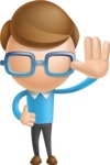 Simple Businessman Vector 3D Cartoon Character AKA Nerdy - Wave