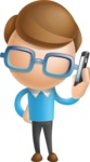 Simple Businessman Vector 3D Cartoon Character AKA Nerdy - Support 1