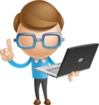 Simple Businessman Vector 3D Cartoon Character AKA Nerdy - Laptop 3