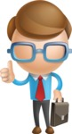 Simple Businessman Vector 3D Cartoon Character AKA Nerdy - Businessman