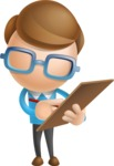 Simple Businessman Vector 3D Cartoon Character AKA Nerdy - Notepad 1