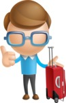 Simple Businessman Vector 3D Cartoon Character AKA Nerdy - Travel
