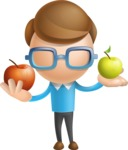 Simple Businessman Vector 3D Cartoon Character AKA Nerdy - Apples