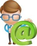 Simple Businessman Vector 3D Cartoon Character AKA Nerdy - Email