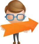 Simple Businessman Vector 3D Cartoon Character AKA Nerdy - Arrow 2