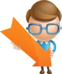 Simple Businessman Vector 3D Cartoon Character AKA Nerdy - Arrow 3