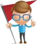 Simple Businessman Vector 3D Cartoon Character AKA Nerdy - Checkpoint