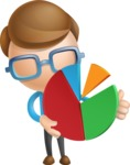 Simple Businessman Vector 3D Cartoon Character AKA Nerdy - Chart
