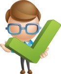 Simple Businessman Vector 3D Cartoon Character AKA Nerdy - Check