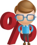 Simple Businessman Vector 3D Cartoon Character AKA Nerdy - Percent