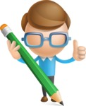 Simple Businessman Vector 3D Cartoon Character AKA Nerdy - Pencil