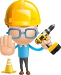 Simple Businessman Vector 3D Cartoon Character AKA Nerdy - Under Construction 2
