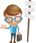 Simple Businessman Vector 3D Cartoon Character AKA Nerdy - Crossroad