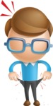 Simple Businessman Vector 3D Cartoon Character AKA Nerdy - No Money
