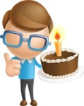 Simple Businessman Vector 3D Cartoon Character AKA Nerdy - Cake