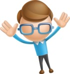 Simple Businessman Vector 3D Cartoon Character AKA Nerdy - Happy