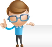 Simple Businessman Vector 3D Cartoon Character AKA Nerdy - Sign 7