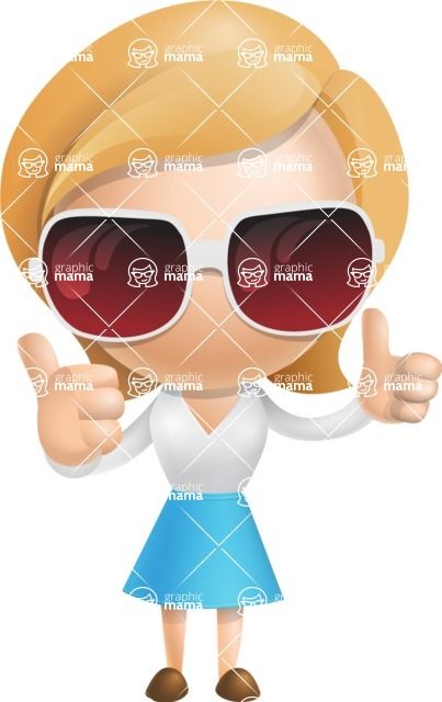 Simple Business Woman Vector 3D Cartoon Character AKA Nerdellina - Sunglasses