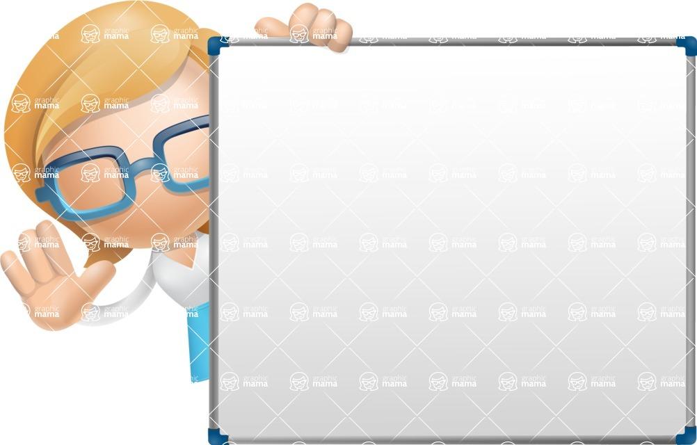 Simple Business Woman Vector 3D Cartoon Character AKA Nerdellina - Presentation 5