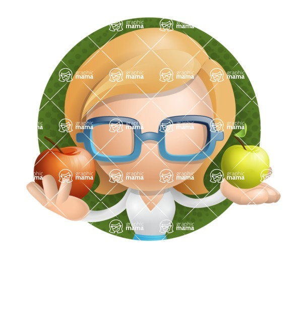 Simple Business Woman Vector 3D Cartoon Character AKA Nerdellina - Shape2