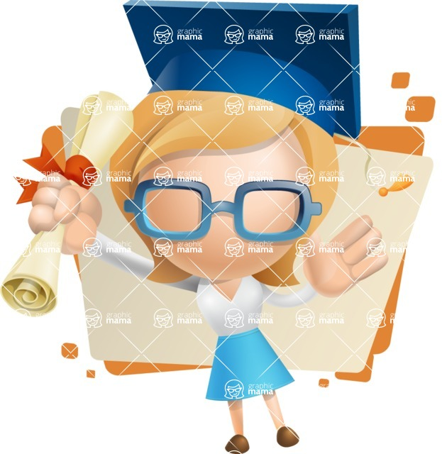 Simple Business Woman Vector 3D Cartoon Character AKA Nerdellina - Shape5