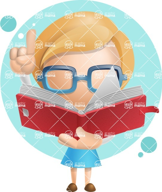 Simple Business Woman Vector 3D Cartoon Character AKA Nerdellina - Shape7
