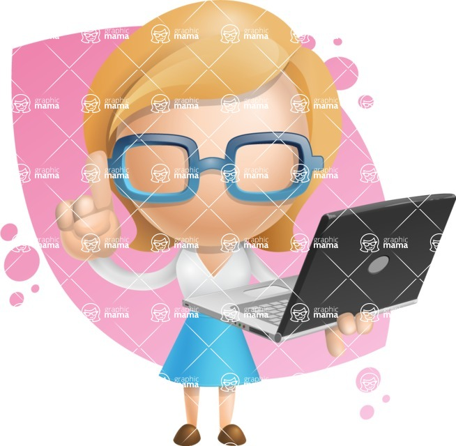 Simple Business Woman Vector 3D Cartoon Character AKA Nerdellina - Shape8