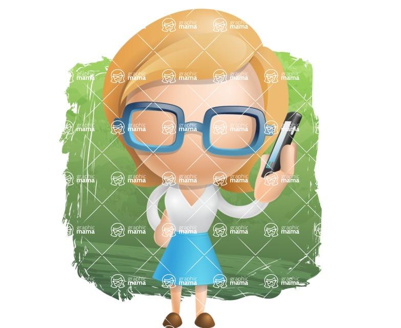 Simple Business Woman Vector 3D Cartoon Character AKA Nerdellina - Shape12