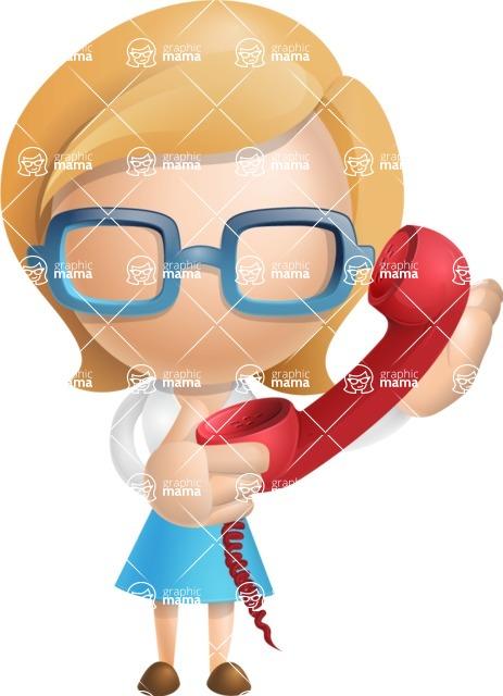 Simple Business Woman Vector 3D Cartoon Character AKA Nerdellina - Phone