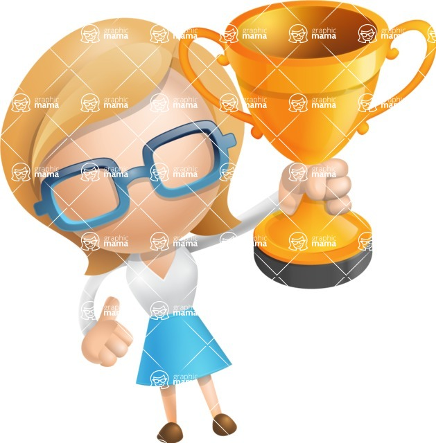 Simple Business Woman Vector 3D Cartoon Character AKA Nerdellina - Gold Cup