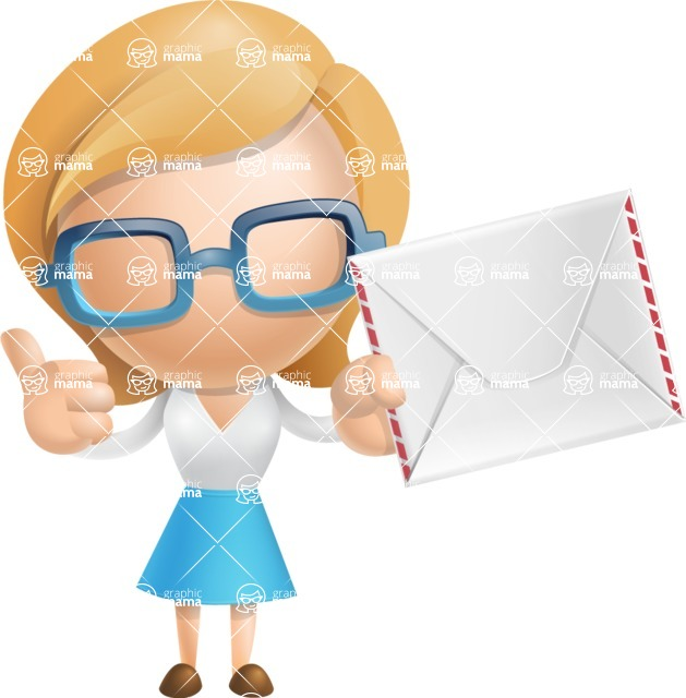 Simple Business Woman Vector 3D Cartoon Character AKA Nerdellina - Letter