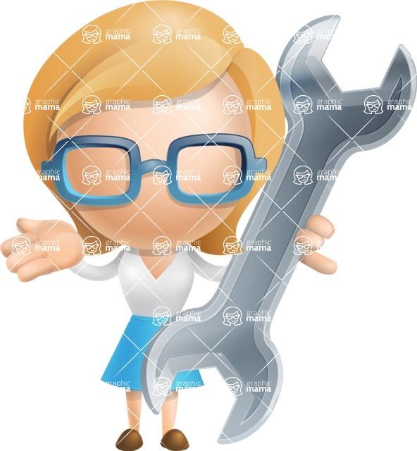 Simple Business Woman Vector 3D Cartoon Character AKA Nerdellina - Repair