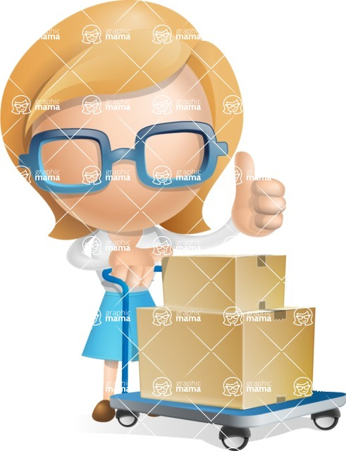 Simple Business Woman Vector 3D Cartoon Character AKA Nerdellina - Pushcart