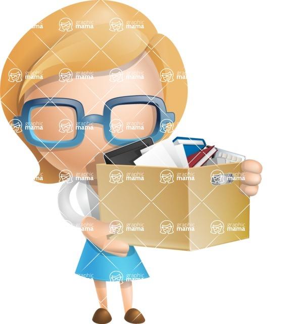 Simple Business Woman Vector 3D Cartoon Character AKA Nerdellina - Box