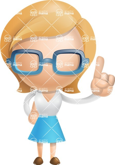 Simple Business Woman Vector 3D Cartoon Character AKA Nerdellina - Attention