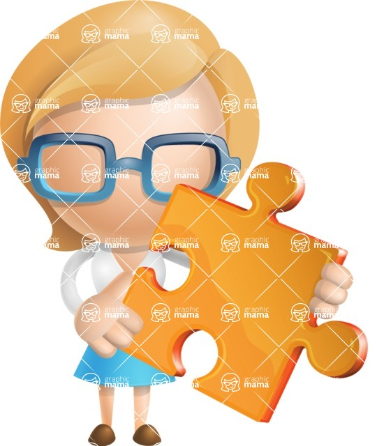 Simple Business Woman Vector 3D Cartoon Character AKA Nerdellina - Puzzle