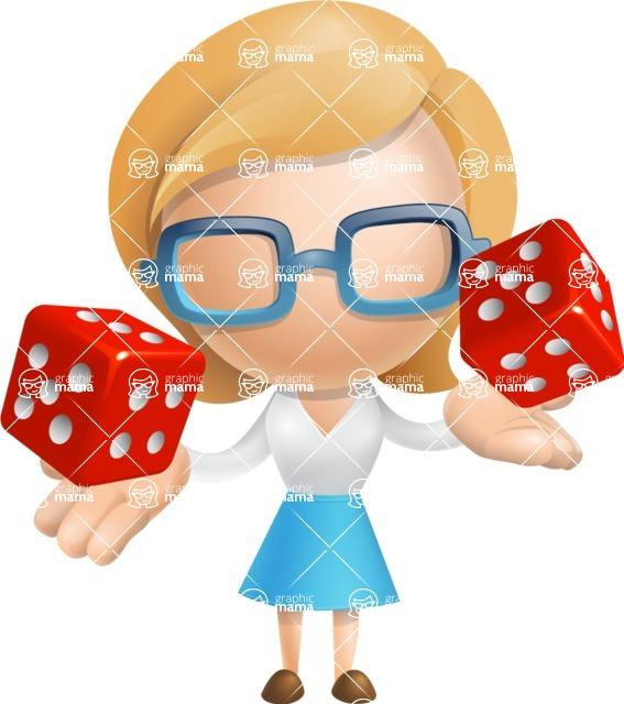 Simple Business Woman Vector 3D Cartoon Character AKA Nerdellina - Lucky