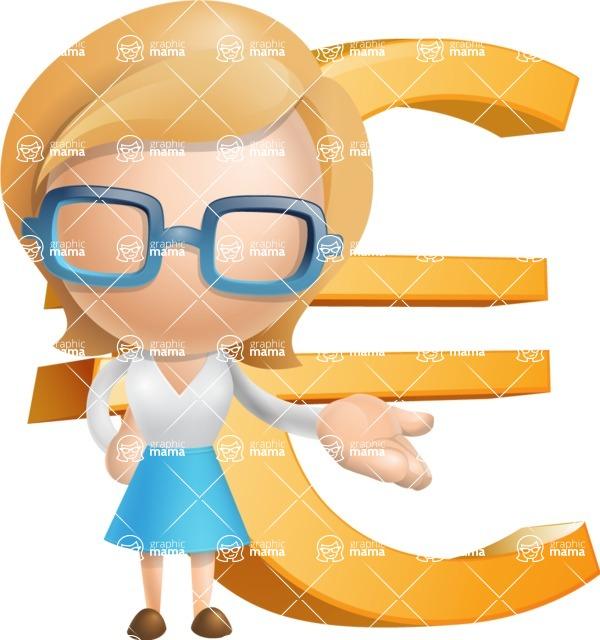 Simple Business Woman Vector 3D Cartoon Character AKA Nerdellina - Euro