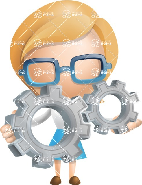 Simple Business Woman Vector 3D Cartoon Character AKA Nerdellina - Gears