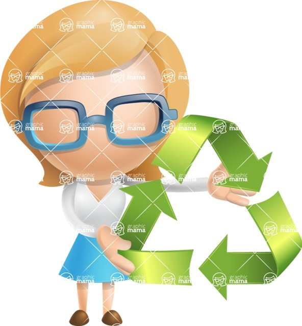 Simple Business Woman Vector 3D Cartoon Character AKA Nerdellina - Eco