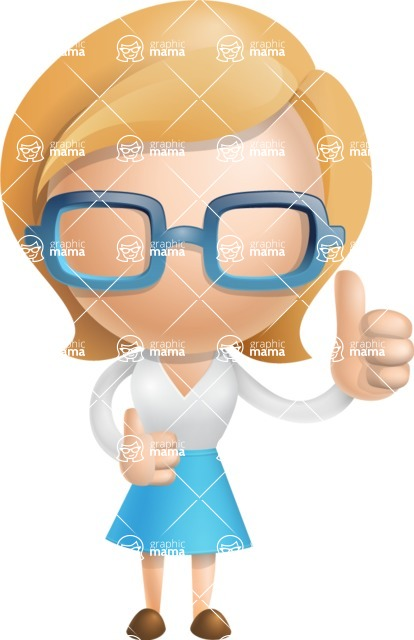 Simple Business Woman Vector 3D Cartoon Character AKA Nerdellina - Thumbs Up