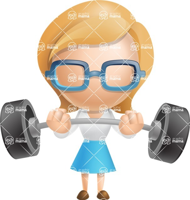 Simple Business Woman Vector 3D Cartoon Character AKA Nerdellina - Strong