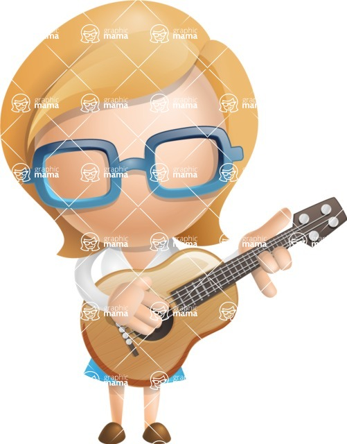 Simple Business Woman Vector 3D Cartoon Character AKA Nerdellina - Musician