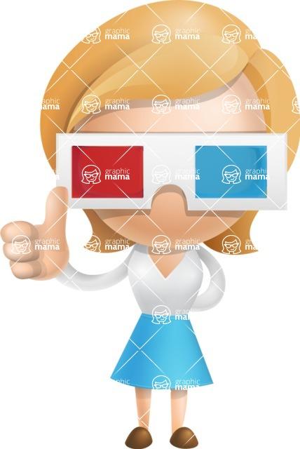 Simple Business Woman Vector 3D Cartoon Character AKA Nerdellina - 3D Glasses